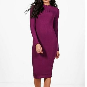 NWT purple ribbed bodycon dress